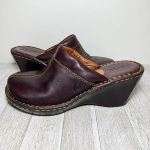 Born Brown Leather Wedge Mules